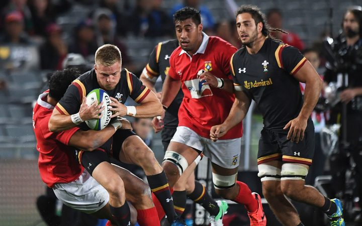 Wales fullback Gareth Anscombe in action against Tonga.