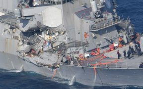 Damage done to the USS Fitzgerald by the collision with the with Philippines merchant ship.