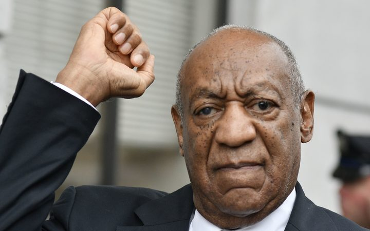 Bill Cosby reacts after the judge declared  a mistrial in the aggravated indecent assault trail.