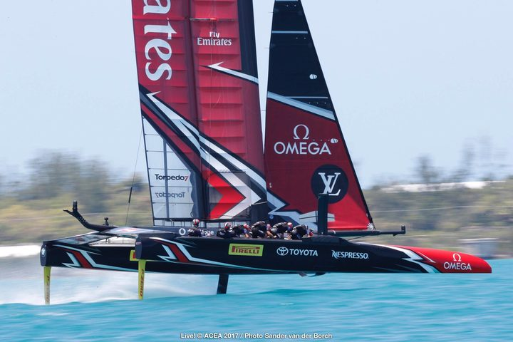Emirates Team New Zealand on the water during the second day of racing against Oracle in the America's Cup in Bermuda.
