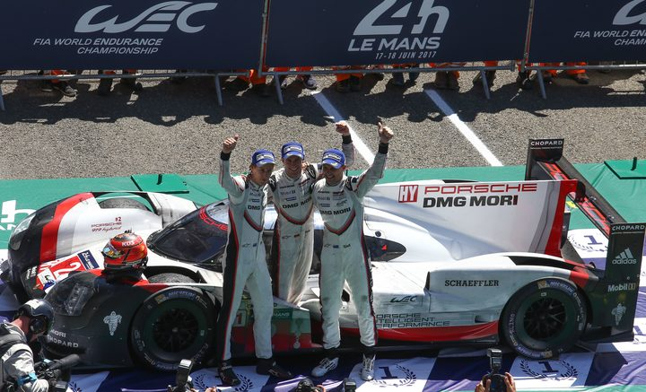 Brendon Hartley, Timo Bernhard and Earl Bamber win 2017 Le Mans.