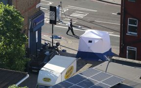A forensic tent at the scene of the van attack on worshippers at a mosque in  Finsbury Park, north London.