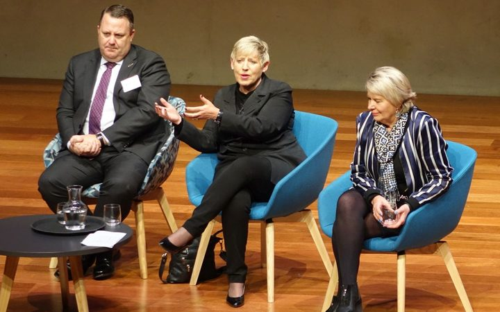 Panel members, from left, Christchurch airport chief executive Malcolm Johns, Mayor Lianne Dalziel and Christchurch rebuild minister Nicky Wagner.