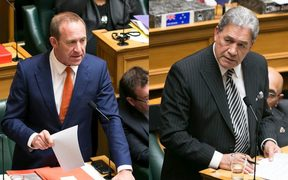 Labour Leader Andrew Little, left, and Winston Peters