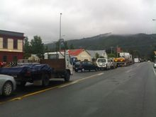 A traffic jam in Featherston while people waited for the road to reopen.
