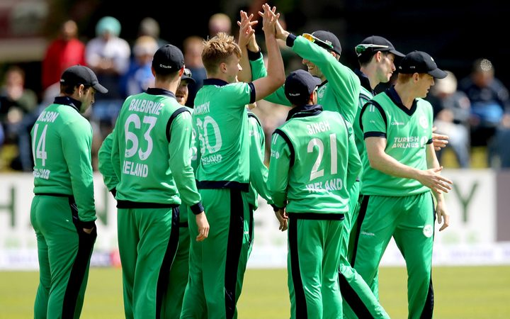 The Ireland Cricket Team celebrate during a One Day international against New Zealand.