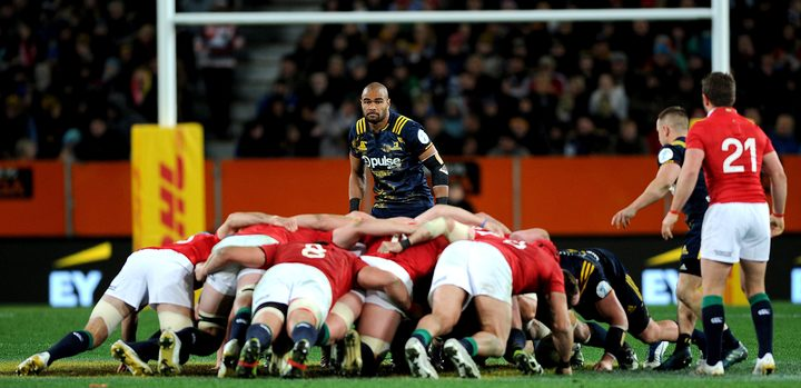 Patrick Osborne watched on during a scrum in the Highlanders match against the British and Irish Lions.