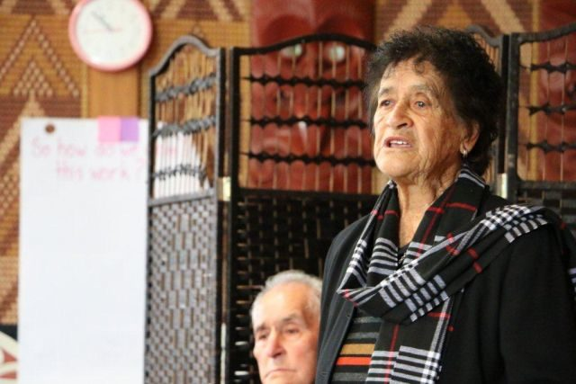 Dame Iri speaks at the hui.