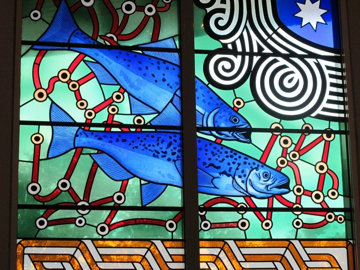 Stained glass designed by Nigel Brown, Holy Trinity Cathedral, Auckland