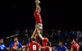 Rory Thornton secures lineout ball for Wales against Samoa. Wales won 19-17 in Apia, June 2017