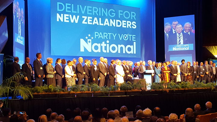 National Party candidates on stage marking the start of the party's  annual conference in Wellington.