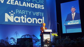 Bill English speaking at the National Party Conference in Wellington.