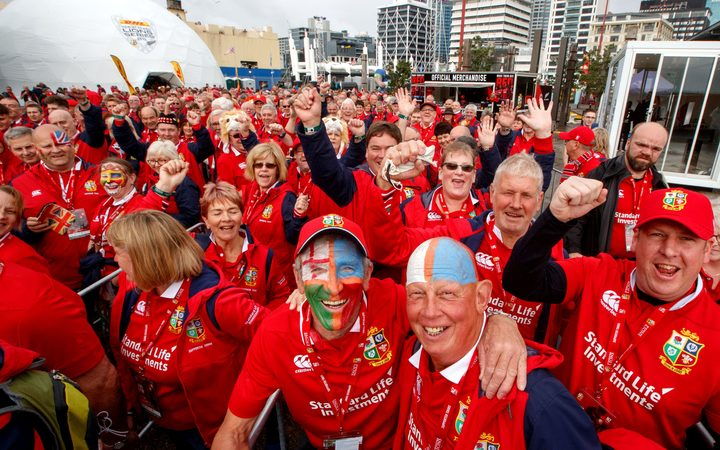 Lions fans at the Lions Den Supporters Village at the Cloud in Auckland.