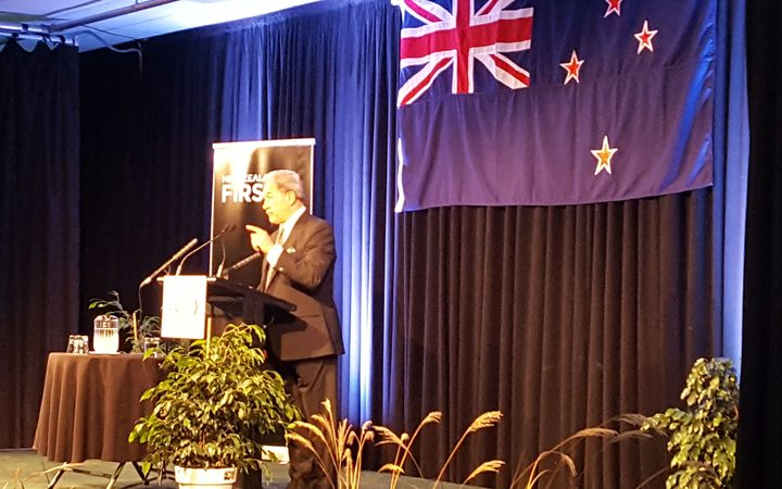 Winston Peters at the campaign launch in Palmerston North this afternoon.