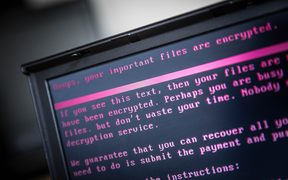 A laptop displays a message after being infected by the NotPetya ransomware as part of a worldwide cyberattack.