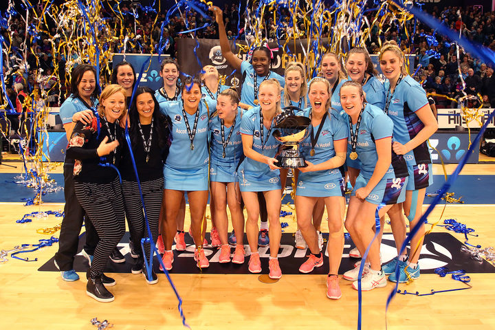 The Southern Steel celebrate their victory over the Central Pulse in the ANZ grand final in Invercargill.