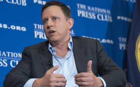 PayPal founder-turned-venture-capitalist Peter Thiel at the National Press Club in Washington, DC, 31 October 2016.
