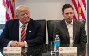 The then President-elect Donald Trump with Peter Thiel in December 2016.