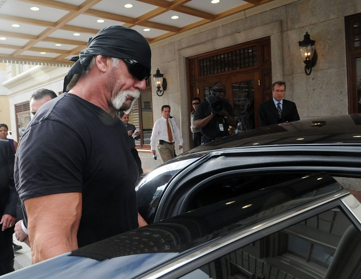 TV personality Terry Bollea aka Hulk Hogan leaves a press conference in 2012 after discussing legal action being brought on his behalf.