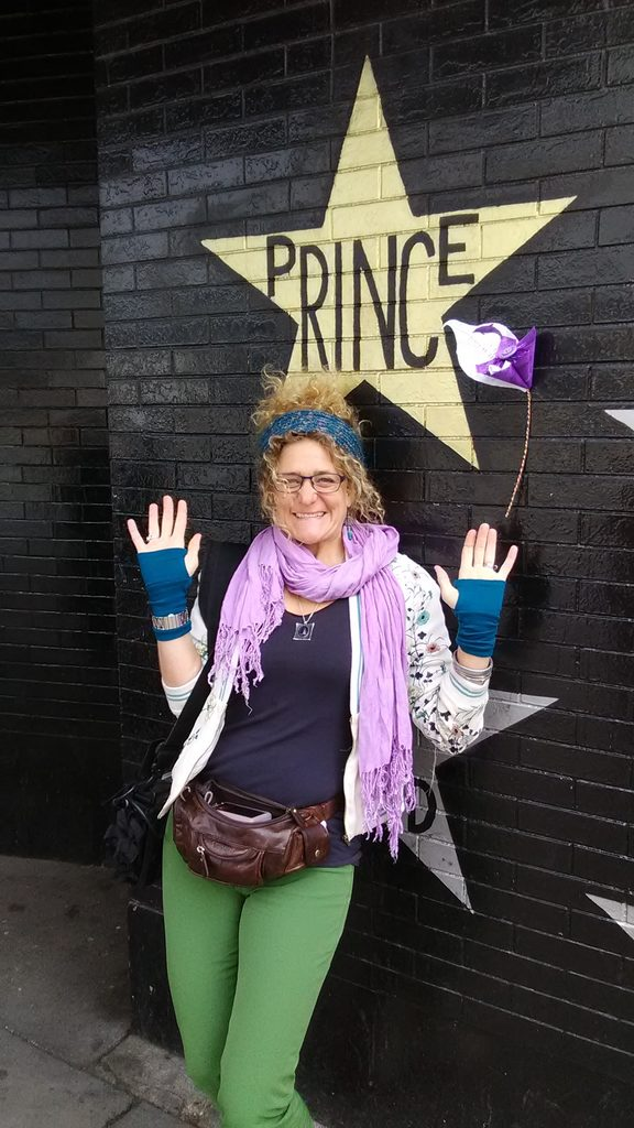 Georgia outside First Avenue, where Purple Rain was filmed