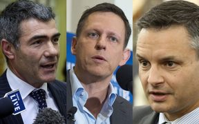 Nathan Guy, Peter Thiel and James Shaw.