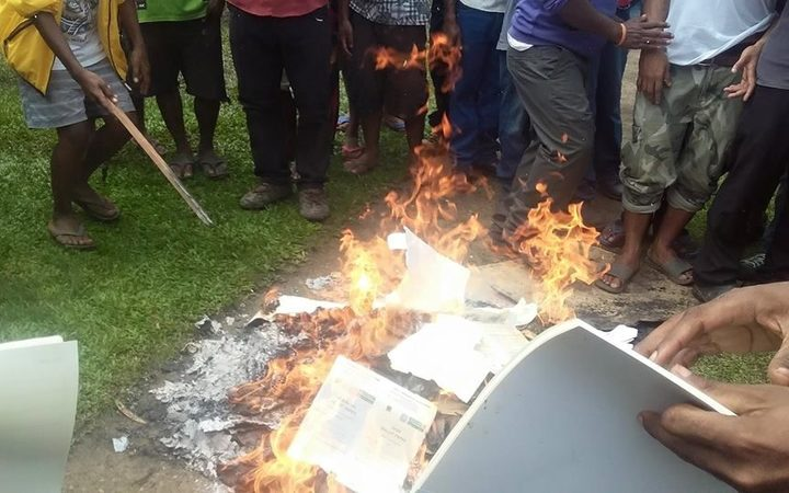 PNG ballot papers were burnt at the University of Technology polling booth on campus.