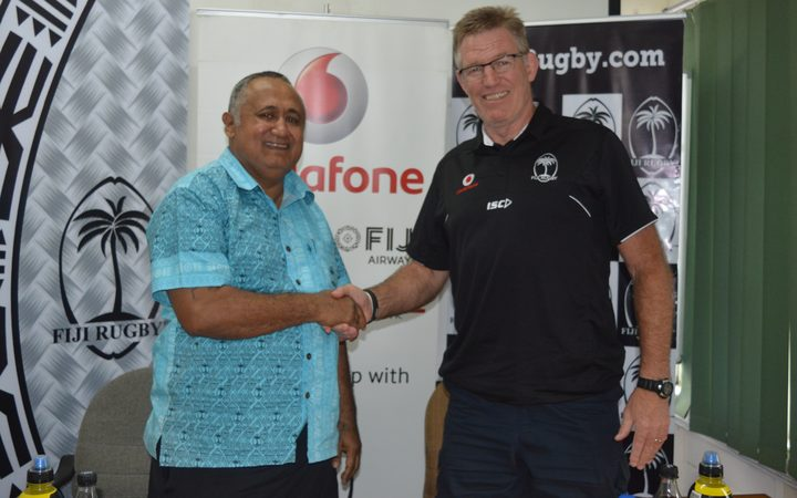 FRU Chairman Commander Francis Kean and Flying Fijians coach John McKee.