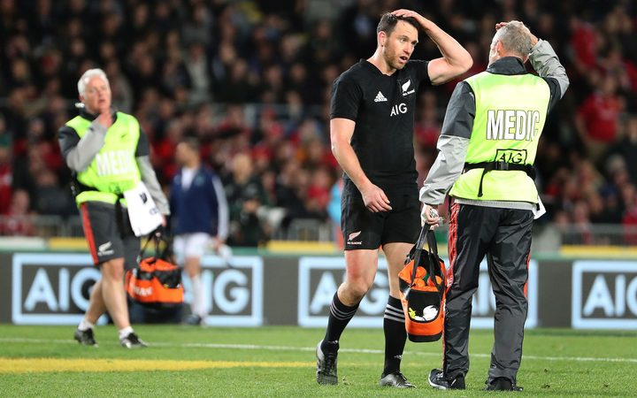 All Blacks vice-captain Ben Smith takes a concussion test during the Test match against the Lions last Saturday.
