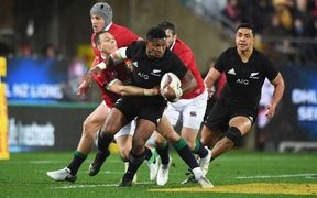 Waisake Naholo makes a break for the All Blacks.
