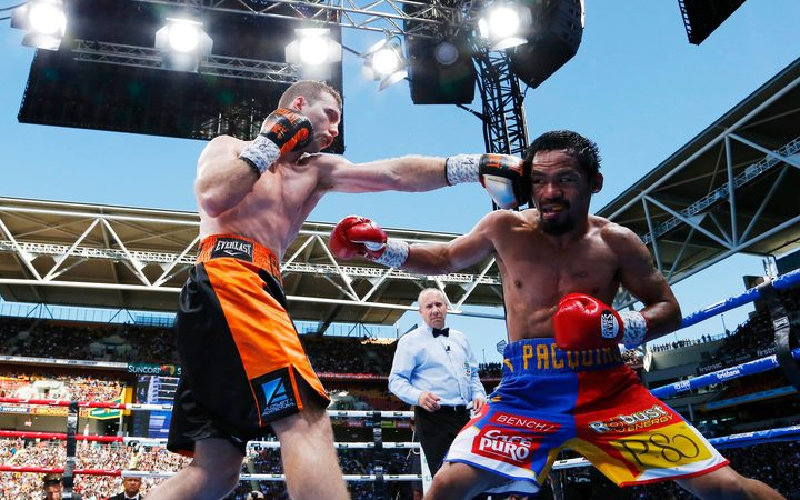 "Australian Jeff Horn (L) connects with Filipino boxer Manny Pacquiao's (R) head in the ""Battle of Brisbane""."