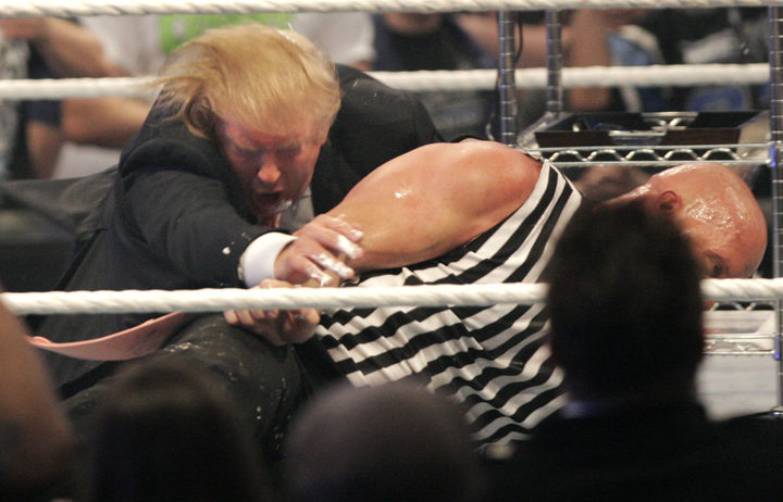 Mr Trump gets taken to the mat by 'Stone Cold' Steve Austin after the the Battle of the Billionaires in 2007.