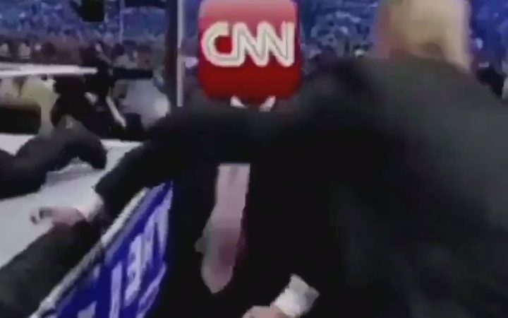 US President Donald Trump has tweeted a short video clip of him wrestling a person with the CNN logo for a head.