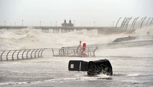 The storm batters Blackpool in the north of England.
