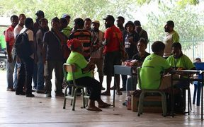 Polling area at University of PNG campus in Port Moresby during Papua New Guinea's 2017 election.