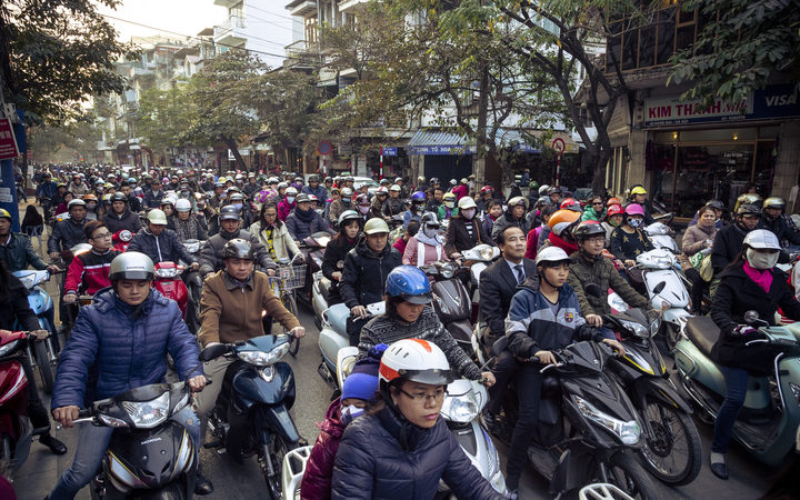 Busy traffic in the old quarter, Hanoi.