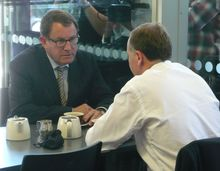 John Banks and John Key at the cafe in November 2011.