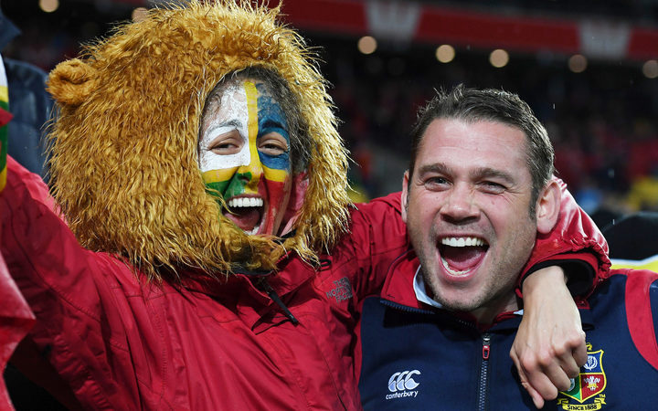 Lions fans and supporters at the final whistle as the Lions beat the All Blacks 24-21 in the second Test match.