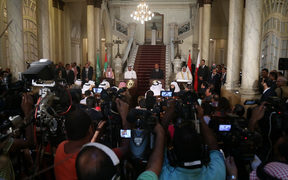 Saudi Arabian Foreign Minister Adel bin Ahmed Al-Jubeir, UAE Minister of Foreign Affairs Abdullah bin Zayed Al Nahyan, Egypt Foreign Minister Sameh Shoukry and Bahrain Foreign Minister Khalid bin Ahmed Al Khalifa hold a joint press conference following their meeting in Cairo, Egypt.
