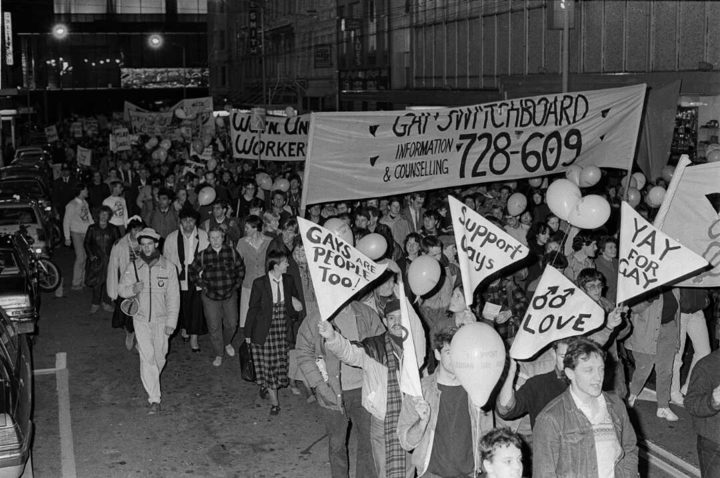 People march in Wellington in support of gay rights and homosexual law reform on 25 May 1985.