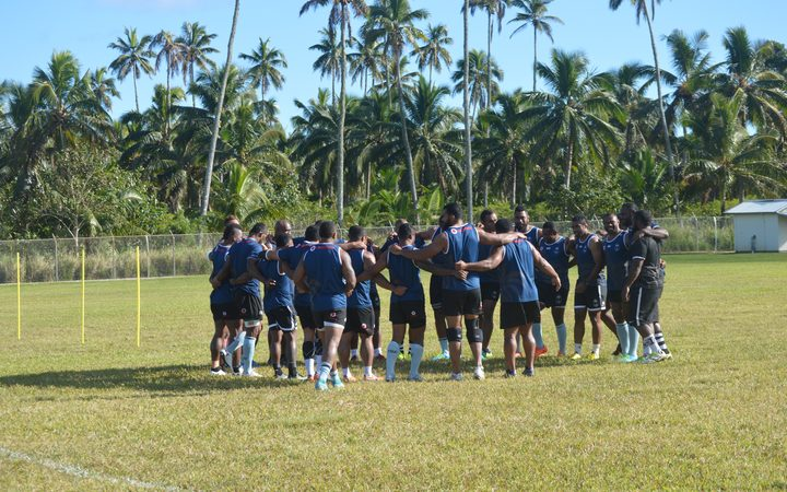 The Flying Fijians during a training session in Tonga.