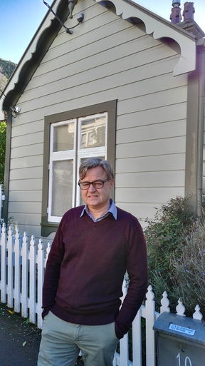 James Hollings outside the hangman's house in Thorndon, Wellington