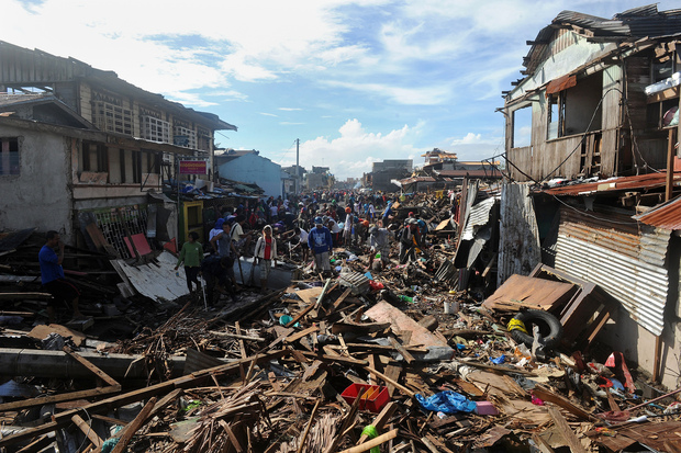 The city of Tacloban in Leyte province was badly hit.