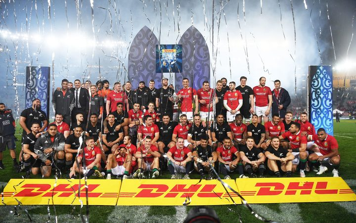 All Blacks and Lions together after the match.