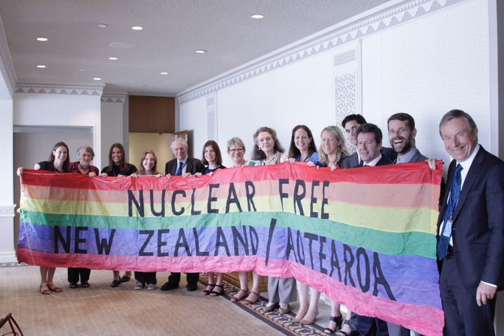 NZers at UN Headquarters, NY. (L-R: Lucy Stewart, Kate Dewes, Charlotte Skerten (MFAT), Anna Crowe, Roger Clark, Alice Osman, Treasa Dunworth, Amb. Dell Higgie (MFAT), Katy Donnelly (MFAT), Michelle Podmore (MFAT), Richard Slade, John Borrie, Lyndon Burford, Rob Green