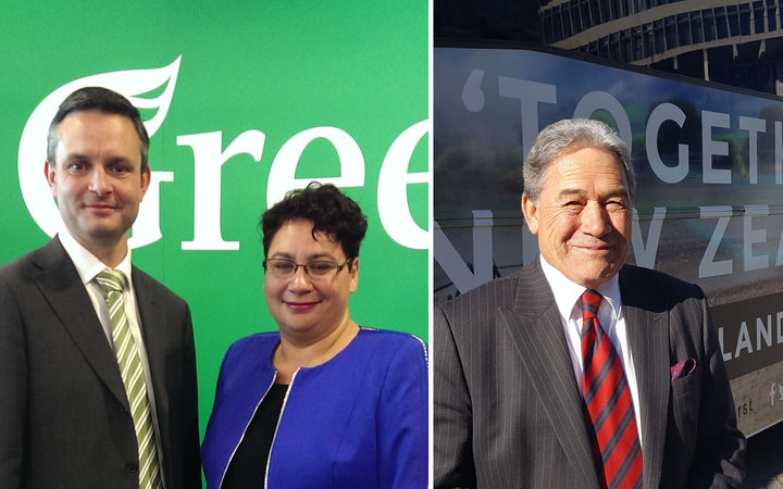 Left to right: James Shaw, Metiria Turei, Winston Peters