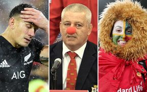 Left to right: Sonny Bill Williams is sent off with a red card, Warren Gatland has the last laugh, a Lions fan in Wellington