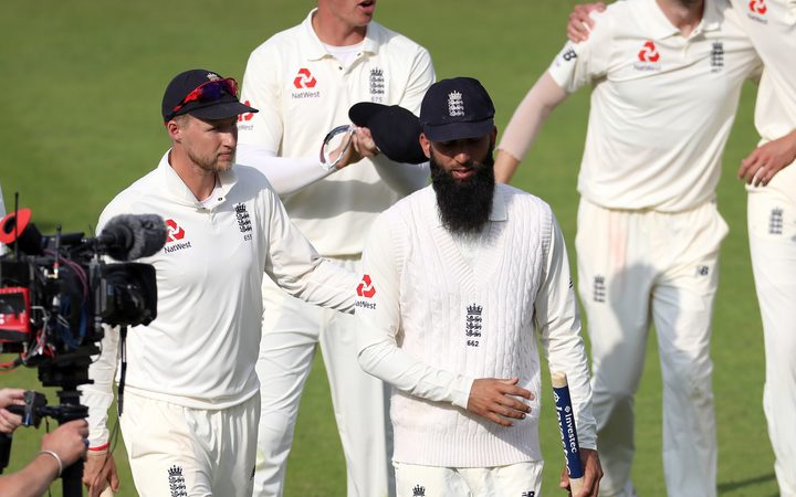 England captain Joe Root and spinner Moeen Ali
