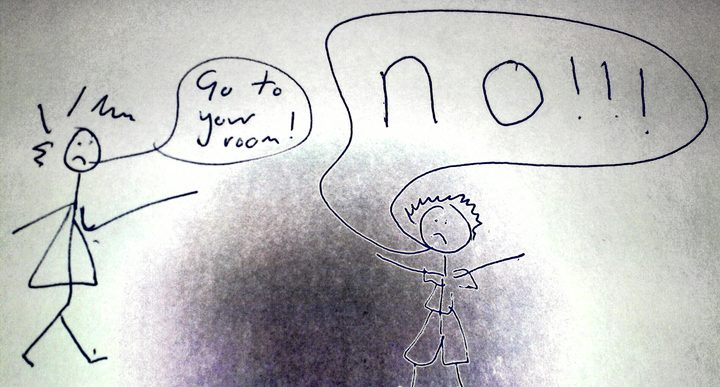 A child's drawing of a parent asking a child to go to their room and the child shouting 'no' in response.