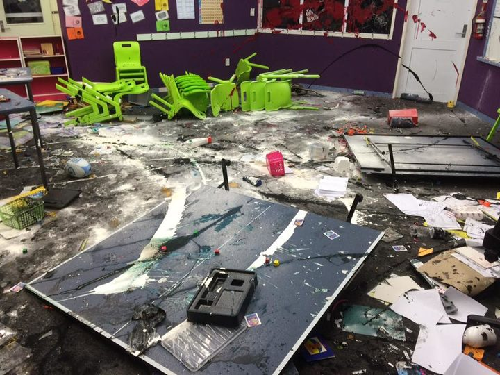 School equipment and furniture was thrown about and paint smeared on floors and walls at Te Kura Kaupapa Maori o Kaikohe.