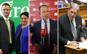 Left to right: James Shaw and Metiria Turei, Andrew Little and Winston Peters